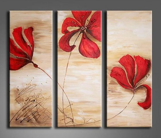 Acrylic Flower Paintings, Acrylic Wall Art Painting, Red Flower Painting, Modern Contemporary Paintings