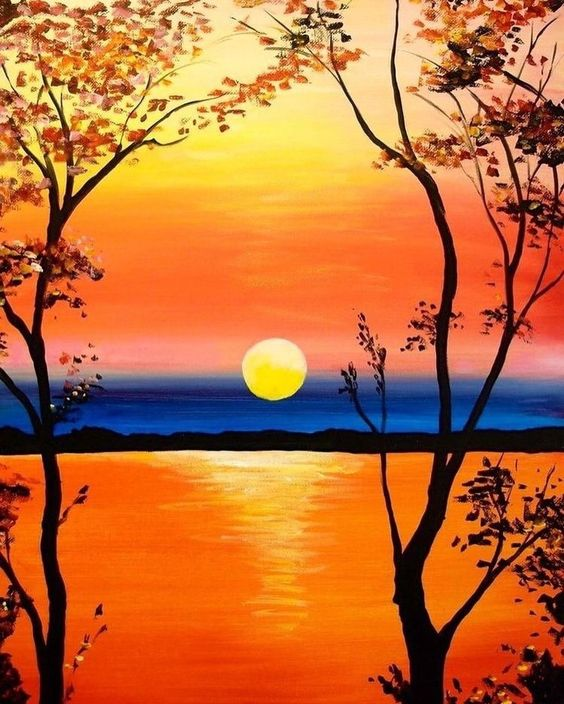 Easy Landscape Painting Ideas for Beginners, Tree Painting Ideas, Easy Landscape Painting Ideas, Sunrise Painting