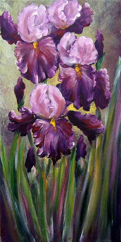 Purple Iris Flower Paintings, Acrylic Flower Paintings, Abstract Flower Paintings, Wall Art Paintings