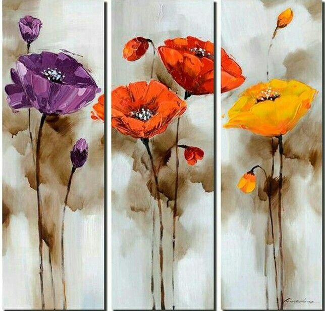 Red Poppy Flower Paintings, 3 Piece Painting, Acrylic Flower Painting, Flower Painting Abstract, Modern Flower Paintings, Simple Painting, Flower Painting Ideas