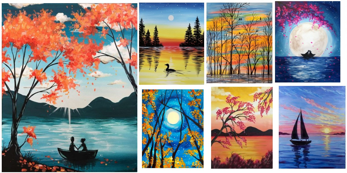 Easy Landscape Painting Ideas for Beginners, Simple Canvas Painting Ideas, Easy Acrylic Paintings, Easy Tree Painting Ideas