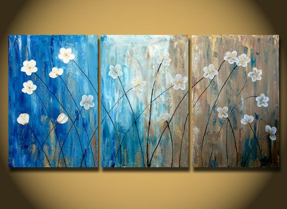 Flower Paintings, Acrylic Flower Painting, 3 Piece Wall Art, Modern Contemporary Painting