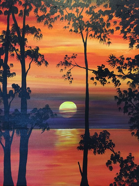 10 Acrylic Landscape Painting Ideas For Beginners Sunset Landscape P Grace Painting Crafts