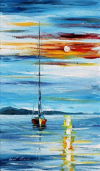 Ship Painting, Sunrise Painting Ideas, Seascape Paintings, Easy Landscape Paintings Ideas for Beginners