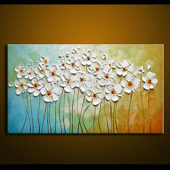 Flower Paintings, Texture Painting, Palette Knife Painting, Acrylic Flower Art, Wall Art Paintings