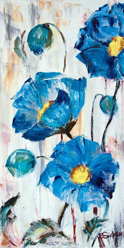 Acrylic Flower Paintings, Abstract Flower Paintings, Poppy Flower Paintings, Blue Flower Paintings, Acrylic Paintings for Beginners