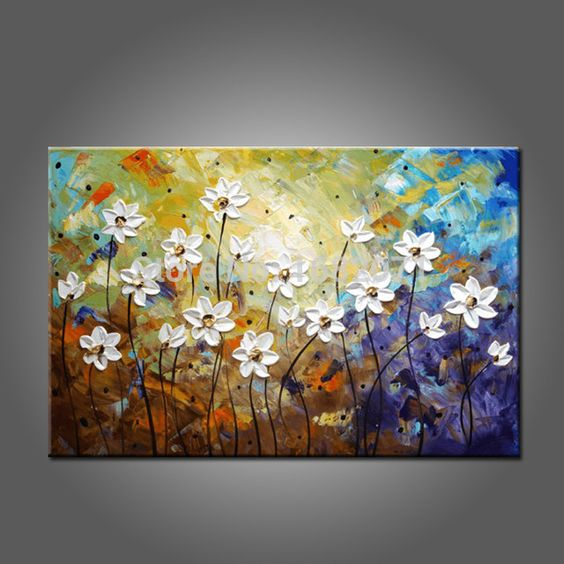 Daisy Flower Paintings, Acrylic Flower Painting, Abstract Flower Painting, Palette Knife Painting, Texture Painting, Flower Painting Ideas