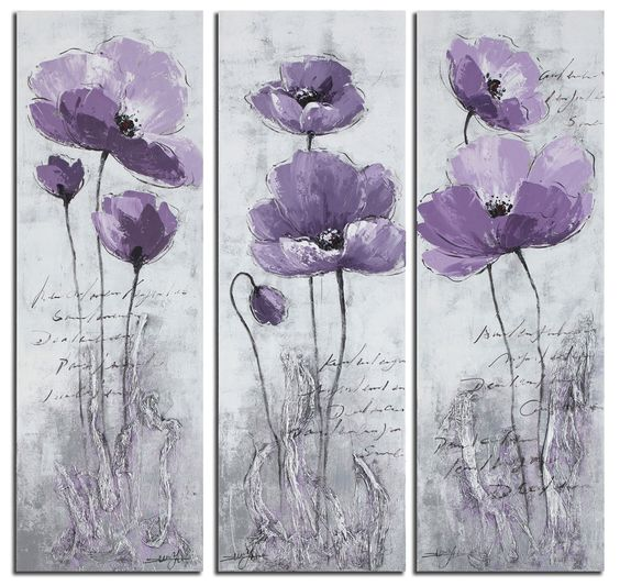 Purple Flower Painting Abstract, Flower Paintings, Acrylic Wall Art Painting, Modern Paintings