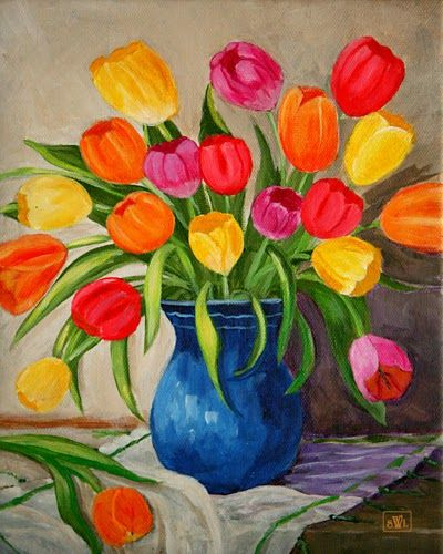 Red and Yellow Tulip Flower Paintings, Acrylic Flower Paintings, Abstract Flower Paintings, Easy Flower Paintings for Beginners