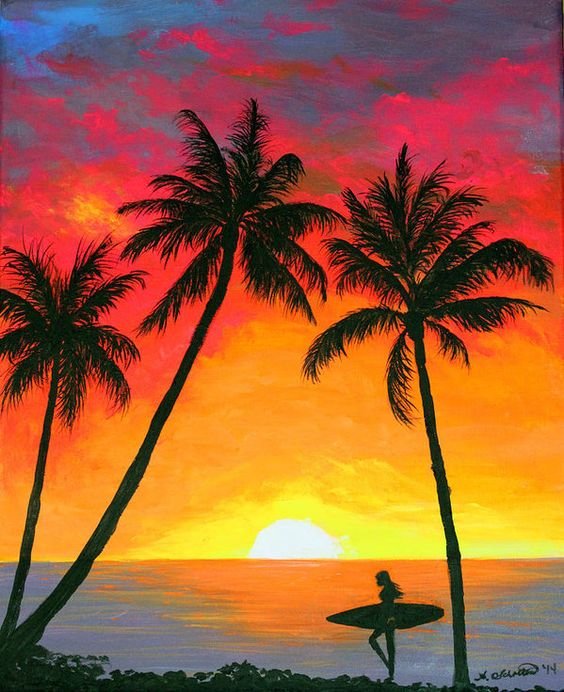 Easy Landscape Paintings Ideas for Beginners , Sunset Painting, Beach Painting, Seashore Painting Ideas