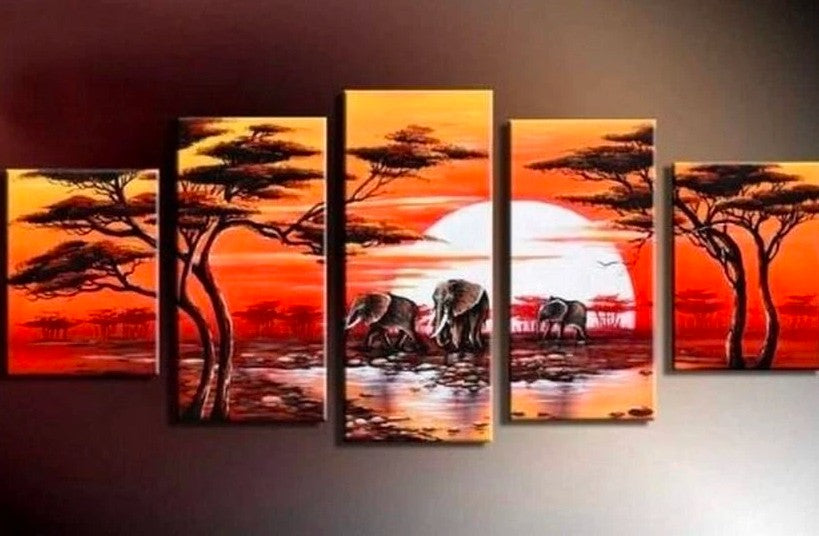 Canvas African Painting, African Sunrise Painting, African Landscape Paintings, Living Room Wall Art Painting, Hand Painted Canvas Painting