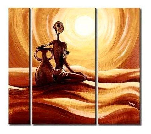 African Woman Painting, Bedroom Wall Art, Large Wall Art, 3 Piece Wall Art