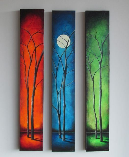Tree Painting Ideas, Moon Landscape Paintings, Easy Landscape Paintings Ideas for Beginners, 3 Piece Painting