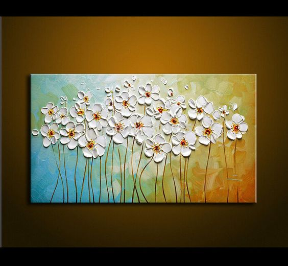 Abstract Flower Paintings, Acrylic Flower Paintings, Easy Flower Paintings for Beginners, Palette Knife Paintings, Texture Painting