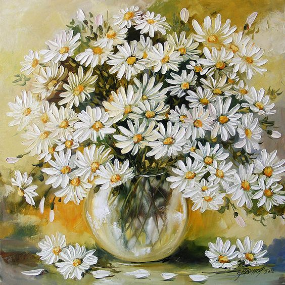 Daisy Flower Paintings, Acrylic Flower Paintings, Abstract Flower Paintings, Flower Paintings for Beginners