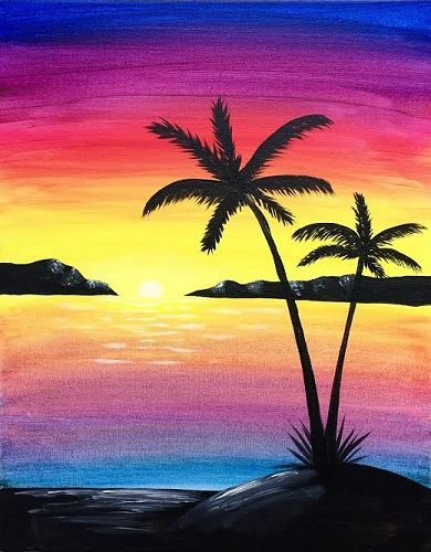 Easy Landscape Painting Ideas for Beginners, Sunset Painting Ideas, Easy Landscape Painting Ideas, Beach Paintings
