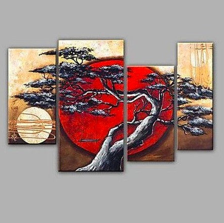 4 Piece Canvas Art, Abstract Art, Moon and Tree Painting, Large Painting for Sale