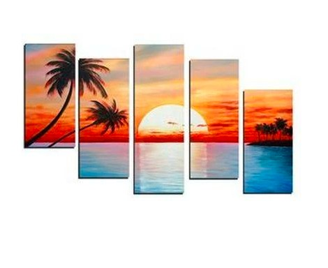 Sunrise Painting, 5 Piece Canvas Art, Beach Palm Tree, Extra Large Canvas Art, Acrylic Painting on Canvas