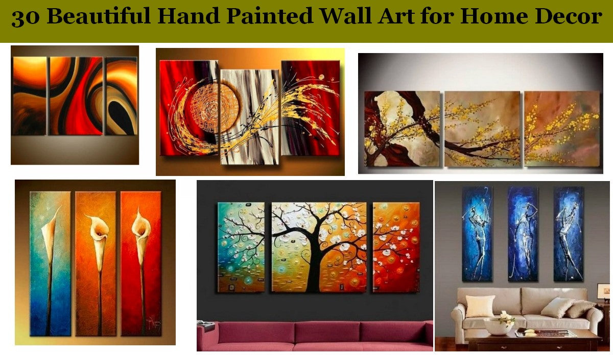 30 Beautiful Hand Painted Wall Art, Abstract Painting for Sale, 3 Piece Paintings, Living Room Modern Acrylic Painting, Bedroom Wall Art