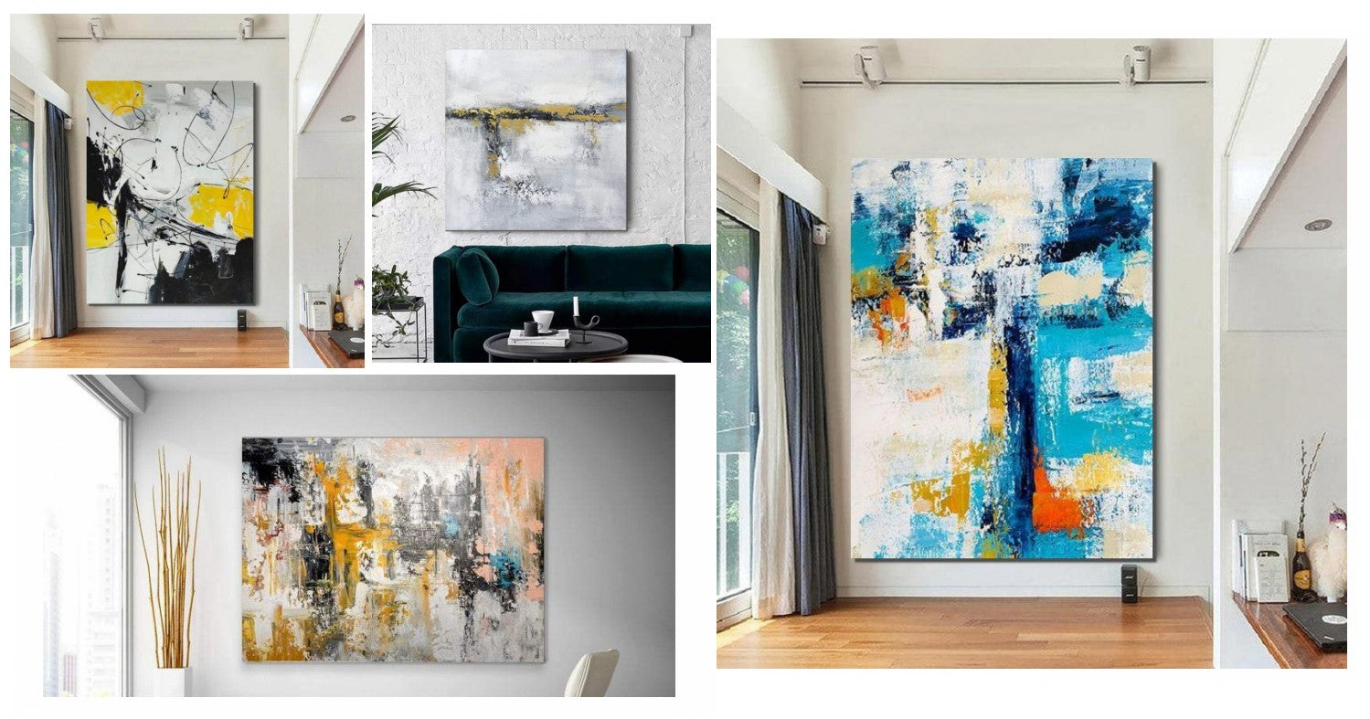 Extra Large Original Canvas Paintings, Simple Modern Acrylic Wall Art Paintings for Living Room, Hand Painted Art on Canvas