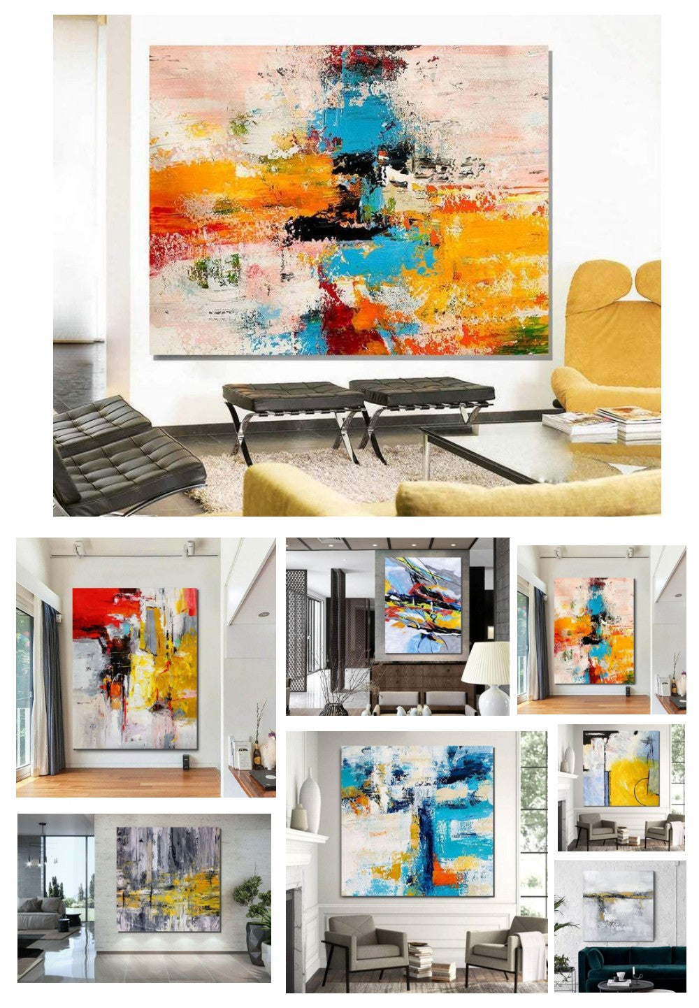 Original Hand Painted Abstract Paintings, Easy Abstract Painting on Canvas, Simple Acrylic Painting for Bedroom