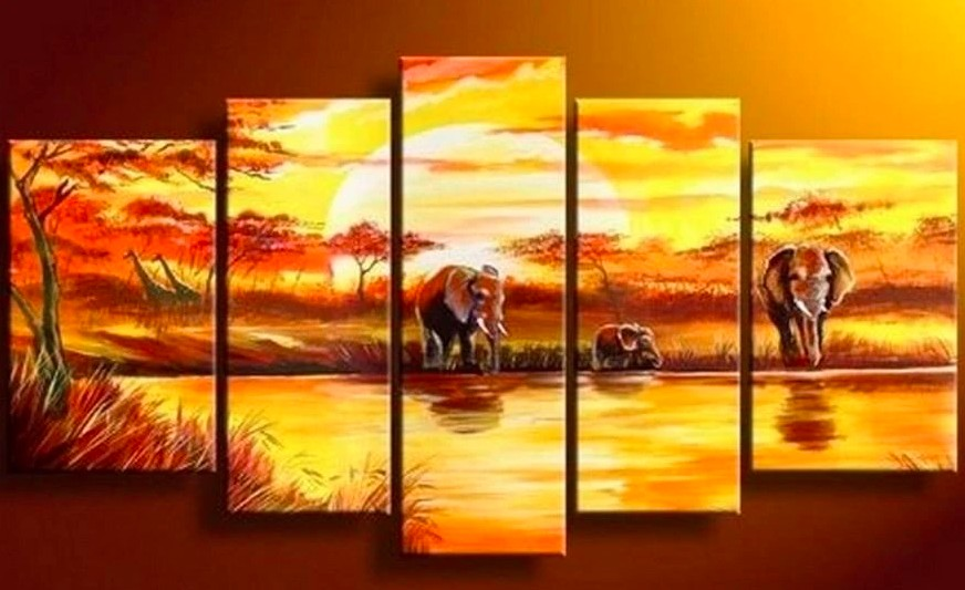 African Landscape Painting, African Elephant Painting, Acrylic African Painting, Paintings for Living Room