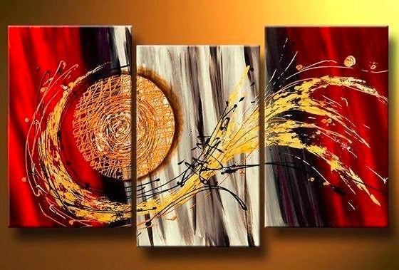 Living Room Large Paintings, Abstract Large Paintings, Acrylic Large Paintings, 3 Piece Canvas Art