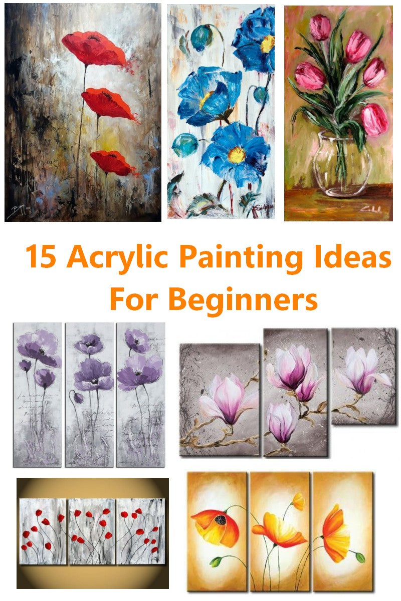 15 Acrylic Flower Painting Ideas for Beginners, Abstract Flower Paintings, Easy Flower Paintings