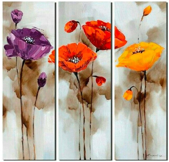 Poppy Flower Paintings, 3 Piece Painting, Acrylic Flower Painting, Flower Painting Abstract, Modern Flower Paintings