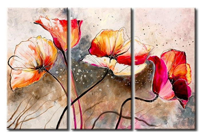 Flower Paintings, 3 Piece Wall Painting, Modern Contemporary Paintings, Acrylic Flower Paintings, Wall Art Paintings