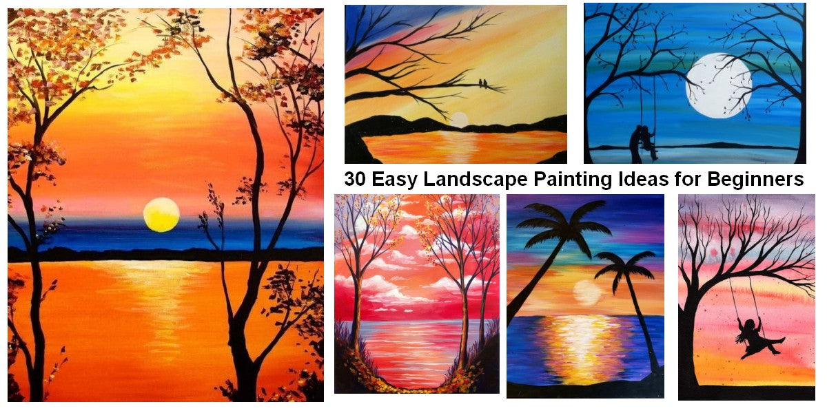 Easy Landscape Painting Ideas for Beginners, Easy Painting Ideas, Simple Acrylic Paintings, Easy Abstract Paintings