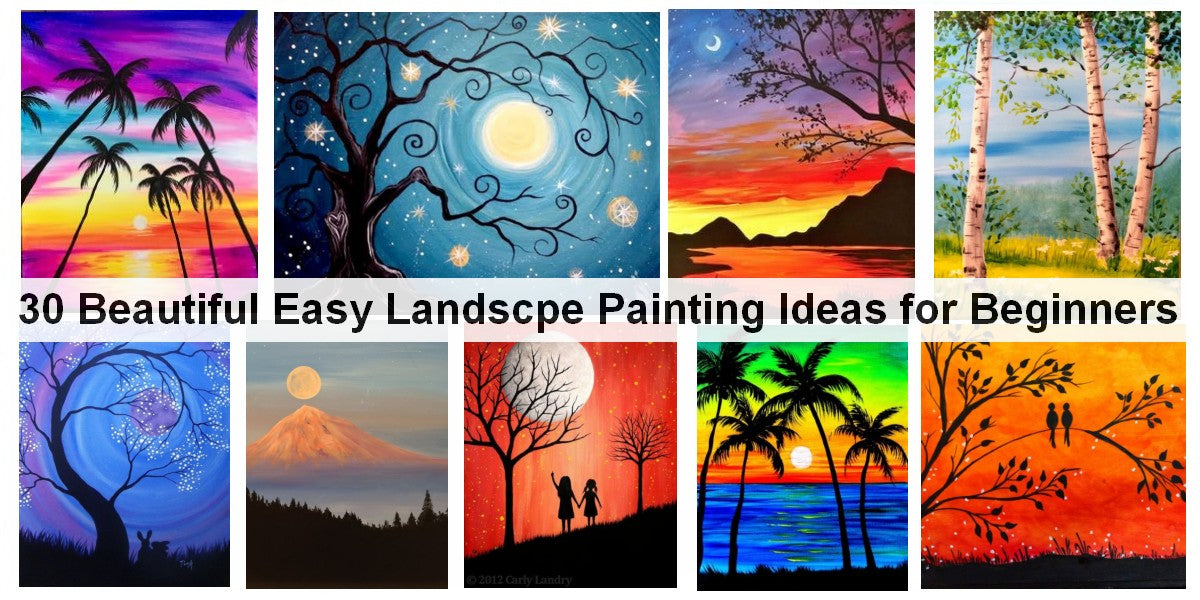 Easy Abstract Landscape Painting Ideas for Beginners, Simple Acrylic Landscape Painting Ideas, Easy Canvas Wall Art