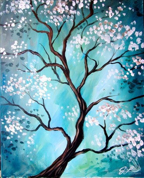 Flower Tree Paintings, Abstract Tree Paintings, Easy Tree Paintings for Beginners, Acrylic Tree Painting
