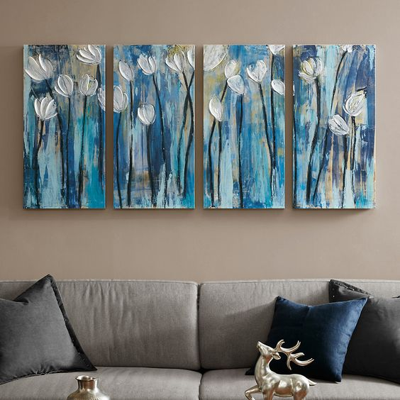 White Tulip Flower Paintings, Acrylic Flower Paintings, Flower Paintings Abstract, 4 Piece Wall Art Paintings, Paintings for Bedroom