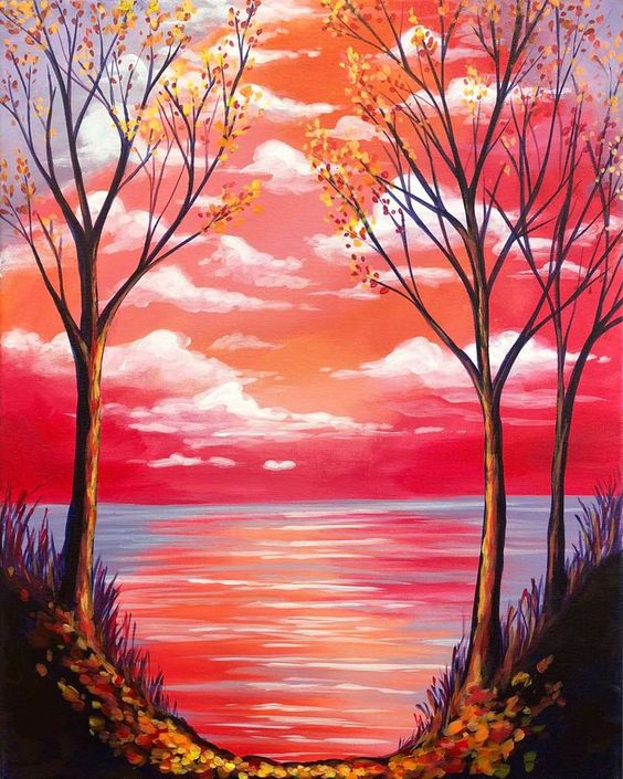 Easy Landscape Painting Ideas for Beginners, Simple Tree Paintings, Beautiful Landscape Paintings, Tree Painting, Sunset Painting