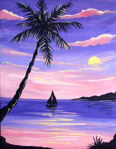 40 Easy Landscape Painting Ideas for Beginners, Simple Canvas Painting Ideas, Easy Acrylic Paintings, Easy Sunset Painting Ideas