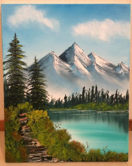 Easy Landscape Painting Ideas for Beginners, Mountain Landscape Paintings, Beautiful Landscape Paintings, Lake Paintings