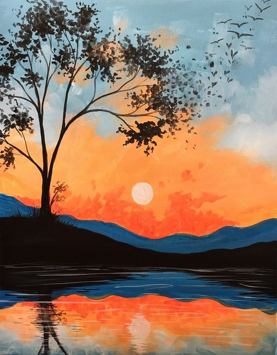 Easy Landscape Painting Ideas for Beginners, Tree Painting Ideas, Easy Landscape Painting Ideas, Paintings for Bedroom