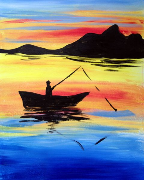 40 Easy Landscape Painting Ideas for Beginners, Easy Boat Painting Ideas, Simple Canvas Painting Ideas, Easy Acrylic Paintings