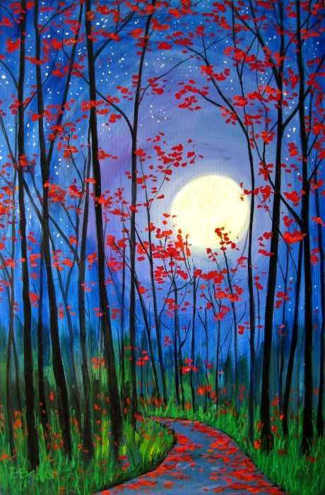 Easy Landscape Painting Ideas for Beginners, Forest Tree Painting Ideas, Beautiful Landscape Paintings, Moon Painting