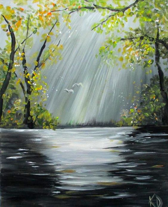 40 Easy Landscape Painting Ideas for Beginners, Easy Painting Ideas, Simple Canvas Painting Ideas, Easy Acrylic Paintings