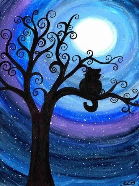 Easy Landscape Paintings Ideas for Beginners, Cat Painting, Night Sky Painting, Acrylic Landscape Paintings