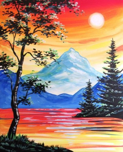 Easy Landscape Paintings Ideas for Beginners , Sunset Painting, Acrylic Landscape Paintings, Mountain Landscape Paintings