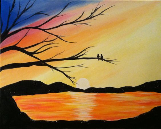 Easy Landscape Painting Ideas for Beginners, Love Birds Paintings, Beautiful Landscape Paintings, Sunset Painting