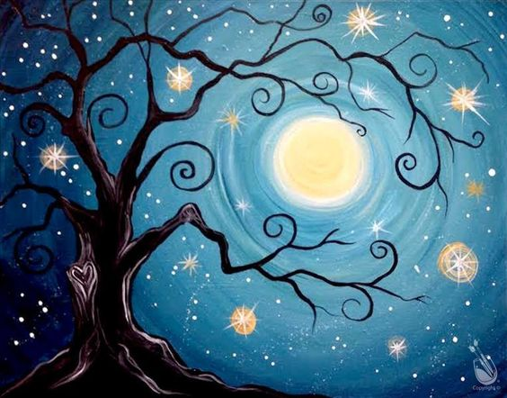 Tree of Life Painting, Acrylic Tree Painting, Night Sky Painting, Tree Landscape Paintings, Easy Tree Painting Ideas for Beginners