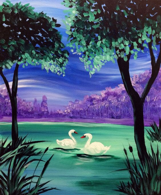 40 Easy Landscape Painting Ideas for Beginners, Easy Tree Painting Ideas, Easy Acrylic Paintings, Simple Canvas Painting Ideas
