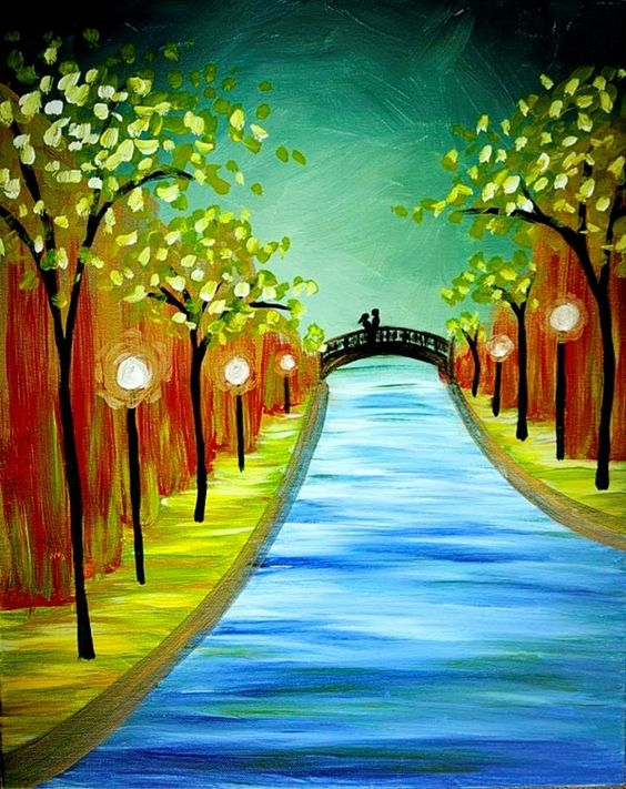 40 Easy Landscape Painting Ideas for Beginners, Easy Palette Knife Painting Ideas, Easy Acrylic Paintings, Simple Canvas Painting Ideas