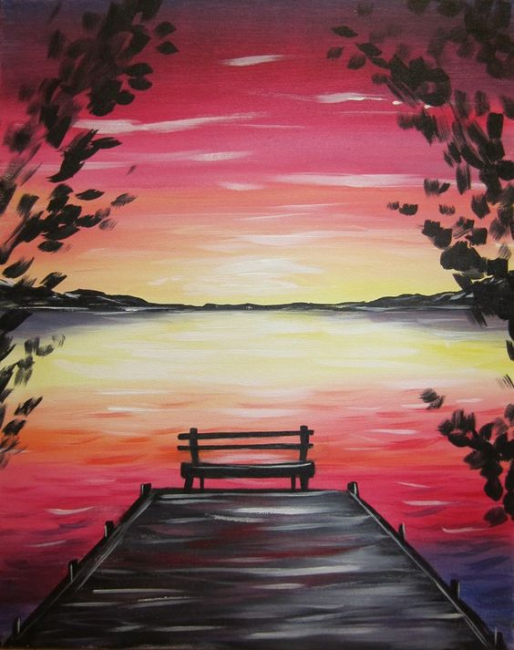 40 Easy Landscape Painting Ideas for Beginners, Easy Painting Ideas, Easy Acrylic Paintings, Simple Canvas Painting Ideas
