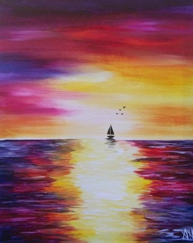 40 Easy Landscape Painting Ideas for Beginners, Easy Seascape Painting Ideas, Easy Acrylic Paintings, Simple Canvas Painting Ideas