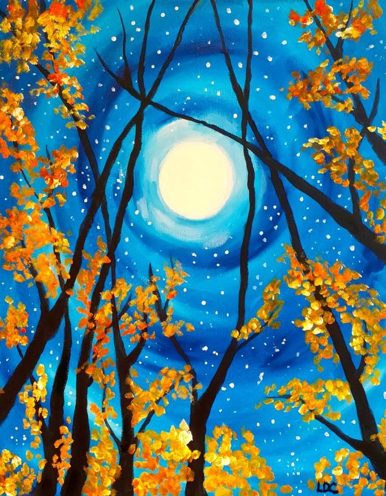 40 Easy Landscape Painting Ideas for Beginners, Easy Tree Night Moon Painting Ideas, Easy Acrylic Paintings, Simple Canvas Painting Ideas